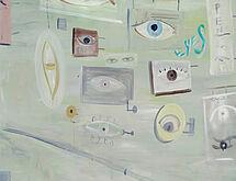 """Jose BONELL, """"Eyes Street"""", 2020, huile et peinture aérosol sur lin, 130 x 162 cm"""
